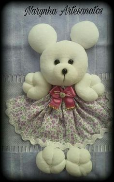 Felt Crafts, Diy And Crafts, Doll Patterns, Sewing Patterns, Kitchen Hand Towels, Baby Pillows, 3 D, Teddy Bear, Dolls