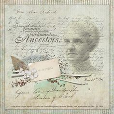 digital heritage layout by Sandy... using a real handwritten letter and calling card (scanned)