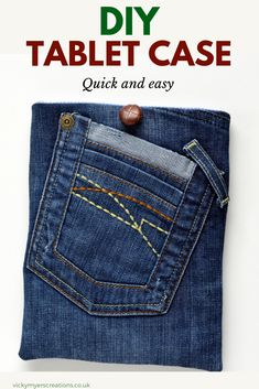 DIY Tablet Case - Quick DIY Gift · vicky myers creations - Learn how to make a denim tablet case the perfect fit for your tablet. Upcycle your jeans into a fu - Mens Sewing Patterns, Sewing Men, Love Sewing, Sewing Clothes, Men Clothes, Learn Sewing, Bag Patterns, Hand Sewing, Diy Tablet Case