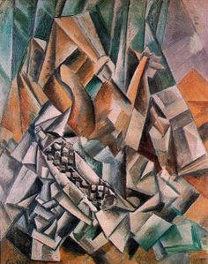 """artist-picasso: """"Still life with bottle of Anis del Mono, 1909, Pablo Picasso """""""