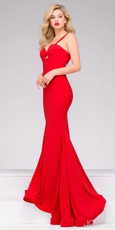 Be a fiery vixen in this Sweetheart Cut Out Back Jersey Evening Dress by Jovani. This style includes a classic sweetheart neckline with a twisted front and small cut out. This jersey form fitting silhouette flares out into a mermaid style with a hors Fitted Prom Dresses, Designer Bridesmaid Dresses, Prom Dresses Jovani, Homecoming Dresses, Evening Dresses, Pageant Dresses, Sexy Dresses, Social Dresses, Perfect Prom Dress