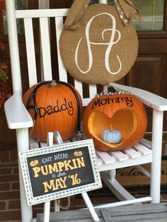 Fall Baby Announcement with a baby blue painted pumpkin for a BOY!  If you like this pin, then please follow us!  Leave comments!  Or visit us!  www.myhappyfamilystore.com