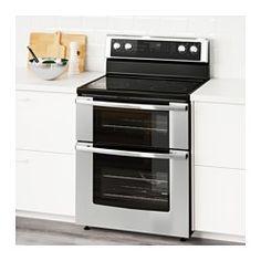 BETRODD Double oven range/ceramic cooktop, Stainless steel - IKEA