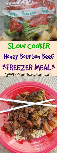 Honey Bourbon Beef a wonderful Asian inspired slow cooker meal that can also save you time as a FREEZER MEAL...gotta love that!