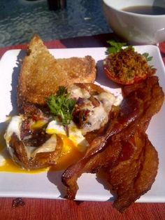 Sunday breakfast courtesy of Chef John McFee ...the pinterest bacon-egg muffin tin recipe reinvented...