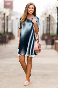 """Summer Fun Dress, Navy""This dress just IS summer fun! It's jersey knit fabric is perfectly light yet not sheer. #newarrivals #shopthemint"