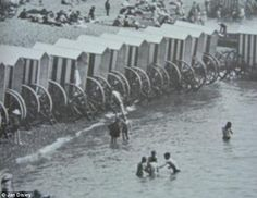 Bathing machines during the 1800s. In this picture you can see the wide berth given to the bathing machines by other beach goers, as a part ...