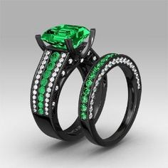 Green And White Cubic Zirconia With Cher Cut Women S Black Wedding Ring Set 249 00 By Vancaro