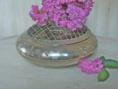 Vintage Flower Frog Silver Vase Silverplated Floral by frenchtwine, $60.00