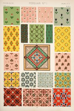 Owen Jones famous Century Grammar of Ornament. One of the finest graphic design books ever produced. From our own original antique chromolithographic version of the famous book we have created a high resolution digitally enhanced copy for you. Textile Patterns, Textile Prints, Textile Design, Textiles, Art Nouveau, Graphic Design Books, Book Design, Pattern Art, Pattern Design