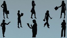 Silhouette of business women at work. A collection of eight professional business women executive standing in different poses. A perfect vector icons for your design on women owned business designs and any other design related to business women.