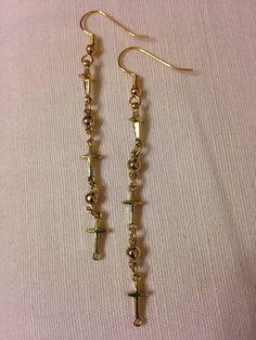 Dangle cross earrings by rocketcityrookie on Etsy, $7.00
