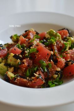 tuna poke. - Super simple to make, healthy and yummy.  Used the suggestions larger portions of sauce etc suggested.  did a quick sear on both sides of tuna as I could not find Sushi grade tune, still great.