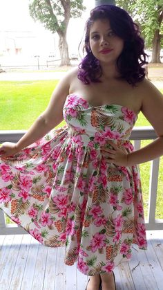 BlueBerryHillFashions: Plus Size Rockabilly Clothing for Less - Cute Hawaiian Summer Print Swing Dress
