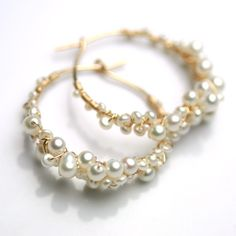 Pearl Encrusted Gold Fill Hoops by fussjewelry on Etsy