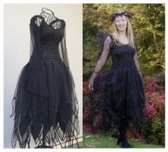 New Adult Wicked  Black Fairy Dress ~ Gothic  Fancy Halloween  Costume ~Theatre