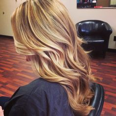 Golden blonde beach waves with highlights