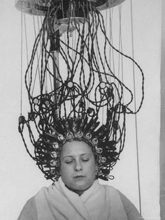 Vintage Hairstyles Updo Photographic Print: Woman at Hairdressing Salon Getting a Permanent Wave by Alfred Eisenstaedt : - size: Photographic Print: Woman at Hairdressing Salon Getting a Permanent Wave by Alfred Eisenstaedt : Artists Vintage Hair Salons, Permanent Waves, Retro Updo, Damp Hair Styles, Photo Essay, Vintage Beauty, Vintage Glam, Vintage Ads, Vintage Photos