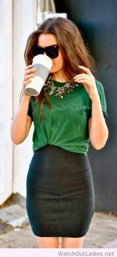 Green Blouse With Black Mini Skirt