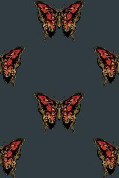 Butterfly Hand-Print wallpaper from Timorous Beasties in Red Butterfly Wallpaper, Print Wallpaper, Wallpaper Designs, Wallpaper Ideas, Butterfly Painting, Black Wallpaper, Best Powder, Timorous Beasties, Inspirational Wallpapers