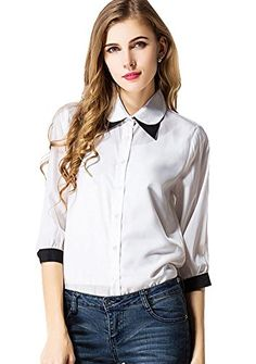 Bramble Women Chiffon 34 Sleeve Fair Lady Slim Fit Casual Tops Blouse Shirt White US XXSAsian S * For more information, visit image link.(This is an Amazon affiliate link and I receive a commission for the sales)