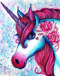 Unicorn Pop Art Print 57 810 or apprx 1114 in PopArt Electric Neon Tattooed Unicorn Punk Rock Magical Sharpie Art