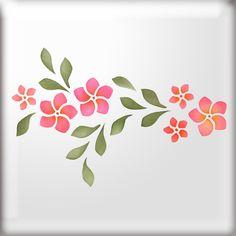 Frangipani Flower Border Stencil