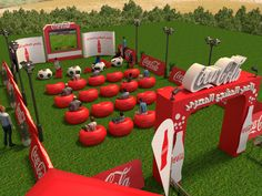 Cocacola - Football on Behance Coca Cola, Concert Stage Design, Corporate Event Design, Design Social, Outdoor Cinema, Experiential Marketing, Exhibition Booth Design, Stage Set, Cafe Design