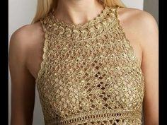 Vestido Dorado Eva Tejido a Crochet - YouTube