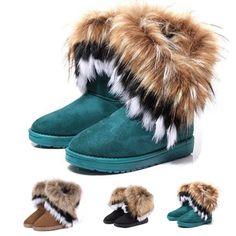 2016 fashion Dikke herfst en winter warm hoge lange sneeuw laarzen kunstmatige faux vos konijnenbont kwastje vrouwen suede schoenen