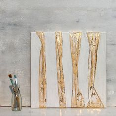 Gold leaf Abstract painting gift office decor mixed media