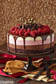 Chocolate Raspberry Mousse Cake - CountryLiving.com