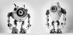 Robotic creatures in grayscale by Ociacia.deviantart.com on @deviantART