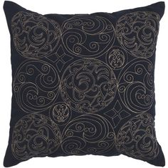 Embroidered Ink 22 X 22 Pillow W/ Down Fill Surya Rugs Accent Pillows Throw Pillows Beddin