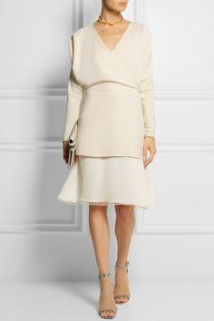 Chloé|Layered wrap-effect crepe dress|NET-A-PORTER.COM