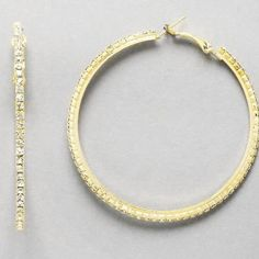 "Gold tone rhinestone hoop earrings New 3"" W, 2 mm, gold tone rhinestone hoop earrings Farah jewlery  Jewelry Earrings"