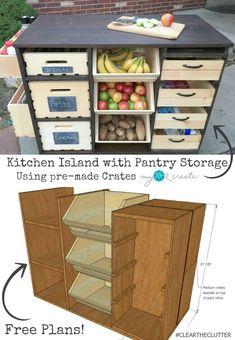 Rodando + cocina + isla + y + despensa + Almacenamiento