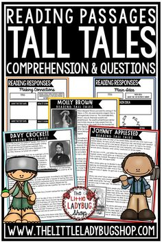 Grow your students knowledge of these Tall Tale Reading Comprehension Passages.These reading passages are wonderful for your students in 3rd grade, 4th grade and 5th grade to study these famous people including: Pecos Bill, Johnny Appleseed, Molly Brown and more! #talltalesreadingpassages