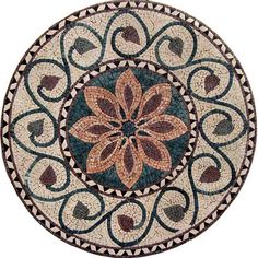Red and Green Fiore Flower Mosaic Medallion - Flower Mosaic Medallions – Fiore - Mosaic Designs - Mosaic Patterns - Floral Mosaics - #Mozaico