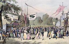 'Local fetes around Paris', series, 1830, Saint-Cloud by Victor Adam