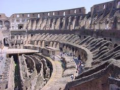The Roman colosseum was a well known piece of roman architecture and had gladiatorial combat within the arena which was famous in rome.