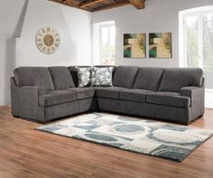 Lane Home Solutions Kasan Gray Living Room Sectional Grey Sectional, Living Room Sectional, Living Room Grey, Rugs In Living Room, Living Room Furniture, Large Sectional, Bar Furniture, Living Area, Rug Size Guide