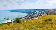 Balchik town cityscape, coast of Black Sea, Bulgaria stock photo