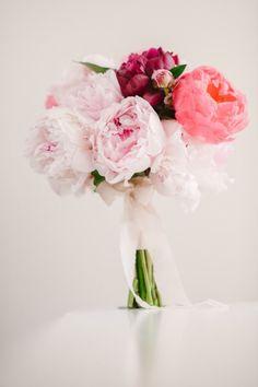 Simple pink peony posy