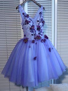 A-line Homecoming Dress V-neck Short/Mini Prom Dress Juniors