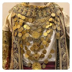 Greek Gold 🌟A taste of the amazing display of nineteen-century traditional Greek costumes at 🌟 The various of styles and the skill of the craftsmanship is second to none. Greek Costumes, Culture Clothing, Greek Culture, Costume Collection, Greek Mythology, Belly Dance, Traditional Outfits, Dna, Folk Art