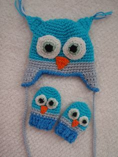 FOR PATTY.  MUST!  crochet Owl  Hat and Mittens earflap  Set.boy  blue. girl pink more colors. $31.50, via Etsy.