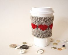 Oatmeal and Red Cup Cozy  Valentine  Eco friendly  by KnittyVet