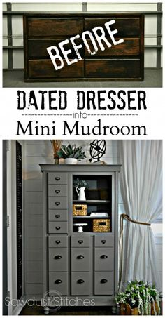 Turn a dated dresser into a mini mudroom complete with hanging coat storage, pull out key storage and shoe shelves! www.sawdust2stitches.com