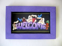 Welcome Spring Bunnies Sign Tole Painted by barbsheartstrokes,